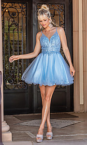 Image of beaded-bodice short prom dress with rolled hem. Style: DQ-21-3308 Detail Image 2