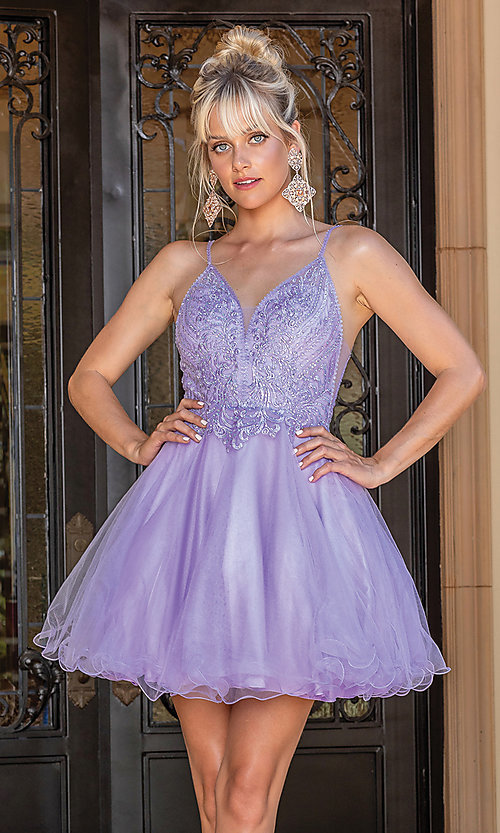 Image of beaded-bodice short prom dress with rolled hem. Style: DQ-21-3308 Detail Image 1