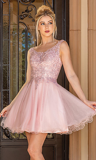 Short Prom Dress with Sheer Embroidered Bodice