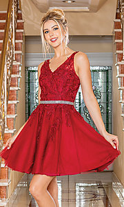 Image of short prom dress with embroidered sheer bodice. Style: DQ-21-3296 Front Image
