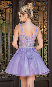 Image of short prom dress with embroidered sheer bodice. Style: DQ-21-3296 Back Image