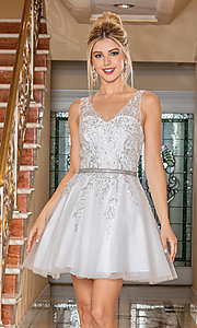 Image of short prom dress with embroidered sheer bodice. Style: DQ-21-3296 Detail Image 2