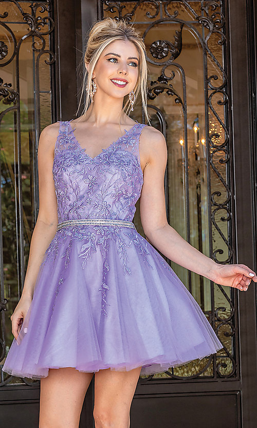 Image of short prom dress with embroidered sheer bodice. Style: DQ-21-3296 Detail Image 1