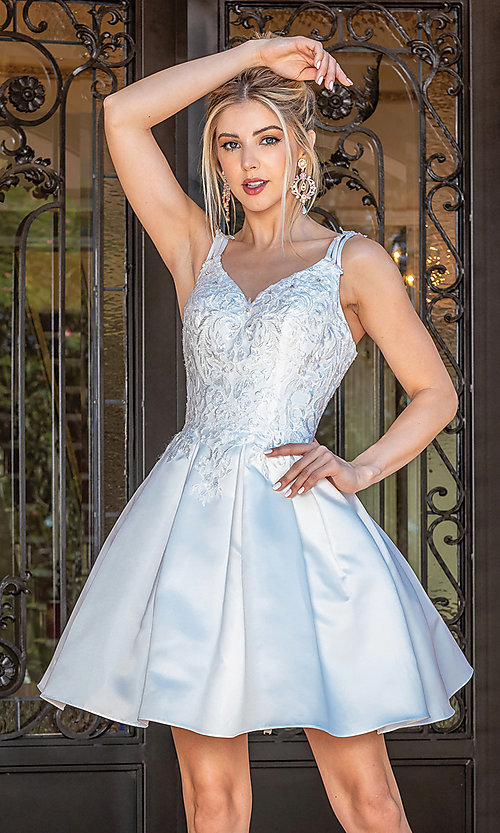 Image of fancy short white dance dress with corset bodice. Style: DQ-21-3293 Front Image