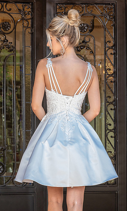 Image of fancy short white dance dress with corset bodice. Style: DQ-21-3293 Back Image