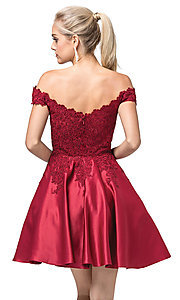Image of short a-line off-the-shoulder fancy party dress. Style: DQ-21-3213 Back Image