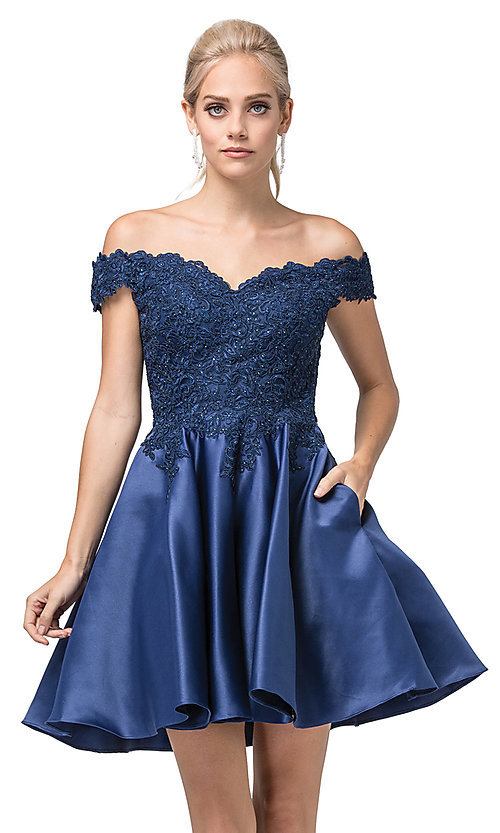 Image of short a-line off-the-shoulder fancy party dress. Style: DQ-21-3213 Detail Image 1