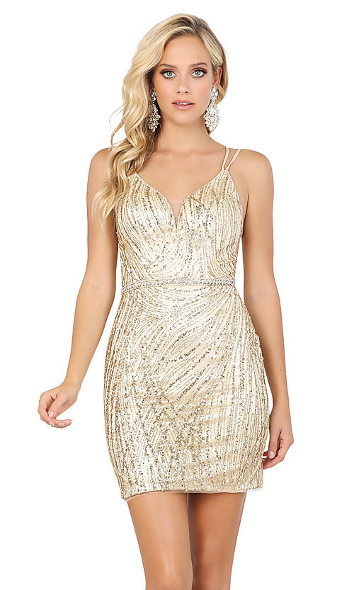 Image of tight glitter-embellished short dance dress. Style: DQ-21-3225 Detail Image 1