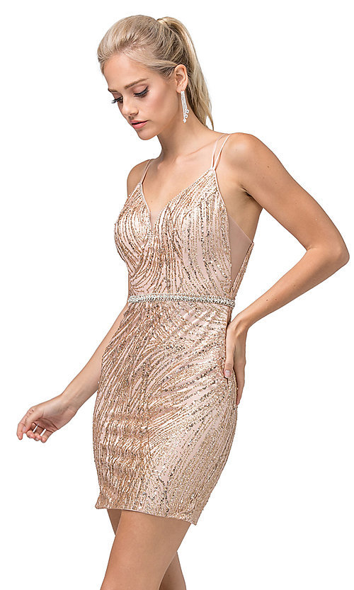 Image of tight glitter-embellished short dance dress. Style: DQ-21-3225 Front Image