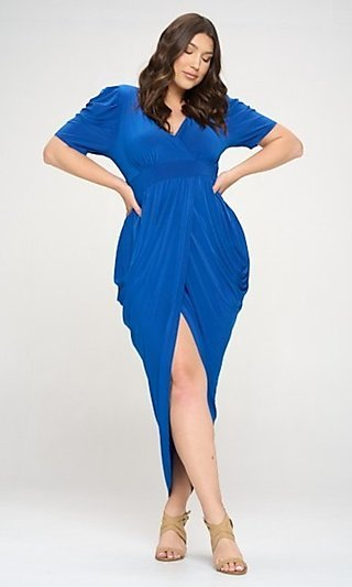High-Low Sexy Plus-Size Party Dress