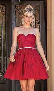 Image of embroidered short strapless semi-formal prom dress. Style: DQ-21-3271 Back Image