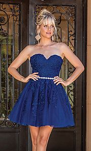 Image of embroidered short strapless semi-formal prom dress. Style: DQ-21-3271 Detail Image 2