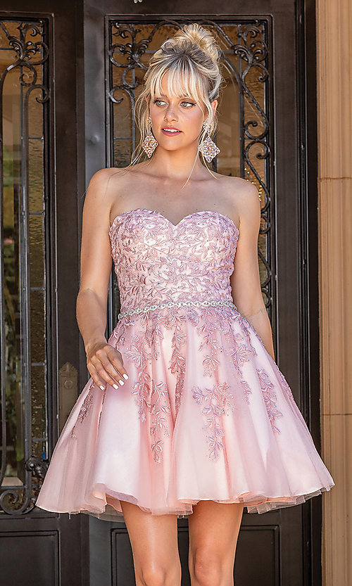 Image of embroidered short strapless semi-formal prom dress. Style: DQ-21-3271 Front Image