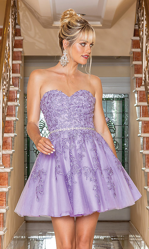 Image of embroidered short strapless semi-formal prom dress. Style: DQ-21-3271 Detail Image 1
