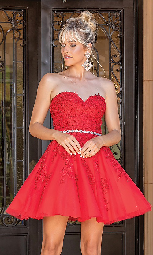 Image of embroidered short strapless semi-formal prom dress. Style: DQ-21-3271 Detail Image 3