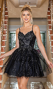 Image of fancy embroidered short glitter prom dress. Style: DQ-21-3278 Front Image