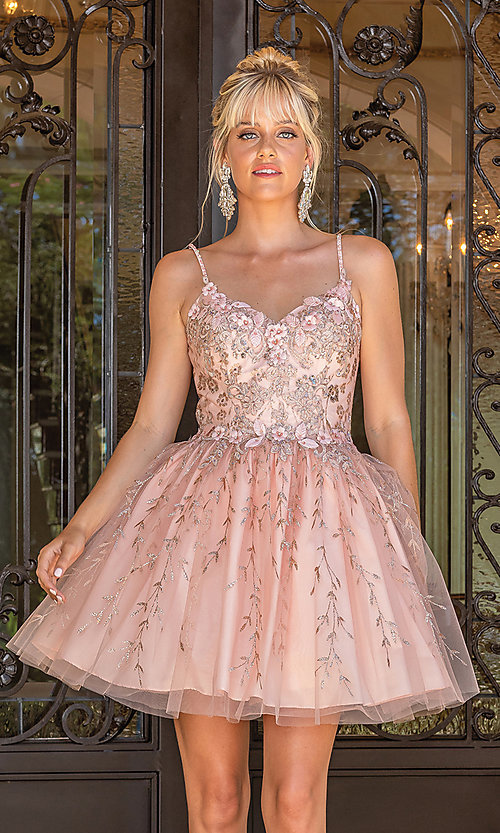 Image of fancy embroidered short glitter prom dress. Style: DQ-21-3278 Detail Image 1