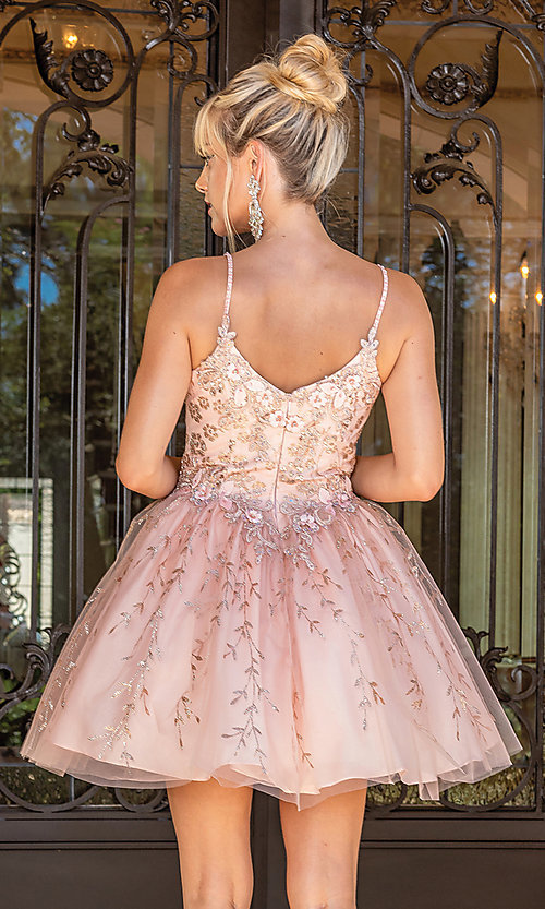 Image of fancy embroidered short glitter prom dress. Style: DQ-21-3278 Back Image
