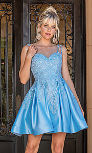 Image of short blue fit-and-flare fancy junior dance dress. Style: DQ-21-3279 Front Image