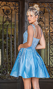 Image of short blue fit-and-flare fancy junior dance dress. Style: DQ-21-3279 Back Image