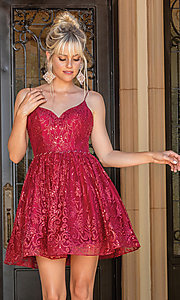 Image of burgundy red glitter-print short prom dress. Style: DQ-21-3282 Front Image