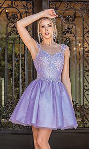 Image of babydoll glitter-embroidery short prom dress. Style: DQ-21-3287 Front Image