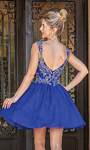 Image of babydoll glitter-embroidery short prom dress. Style: DQ-21-3287 Back Image