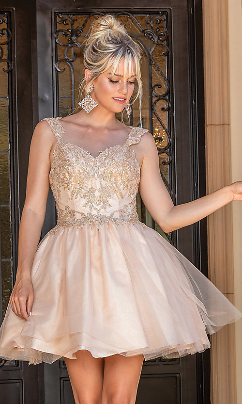 Image of babydoll glitter-embroidery short prom dress. Style: DQ-21-3287 Detail Image 1