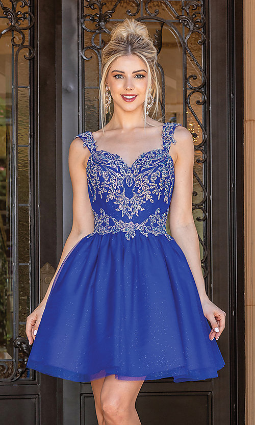 Image of babydoll glitter-embroidery short prom dress. Style: DQ-21-3287 Detail Image 2