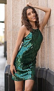 Image of short sequin semi-formal party dress. Style: FG-VRT-21-614-211799 Front Image