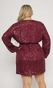 Image of short allover-sequin holiday plus-size party dress. Style: FG-CRV-21-50D-072010121 Detail Image 2