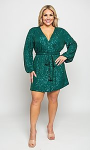 Image of short allover-sequin holiday plus-size party dress. Style: FG-CRV-21-50D-072010121 Front Image
