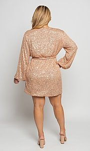 Image of short allover-sequin holiday plus-size party dress. Style: FG-CRV-21-50D-072010121 Detail Image 4