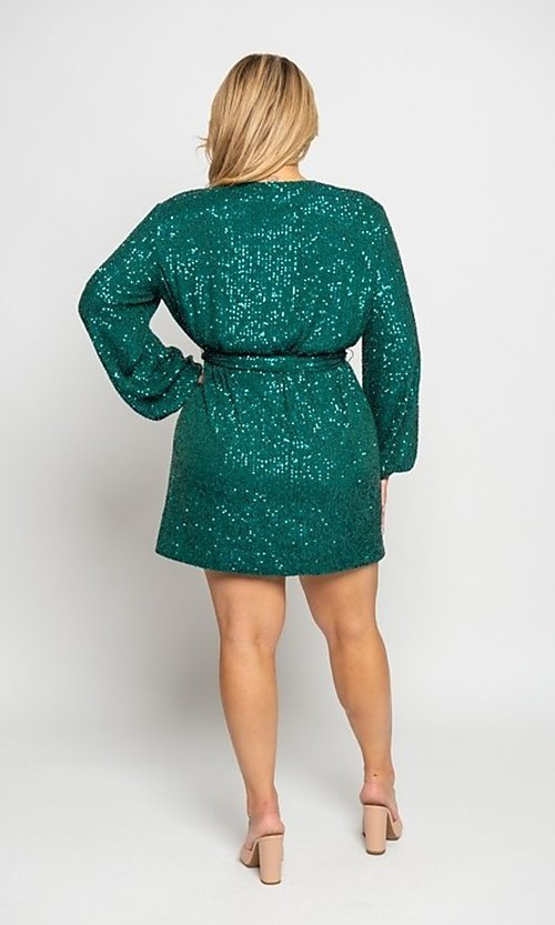 Image of short allover-sequin holiday plus-size party dress. Style: FG-CRV-21-50D-072010121 Back Image