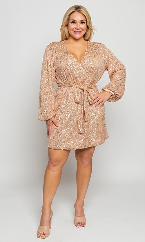 Image of short allover-sequin holiday plus-size party dress. Style: FG-CRV-21-50D-072010121 Detail Image 3