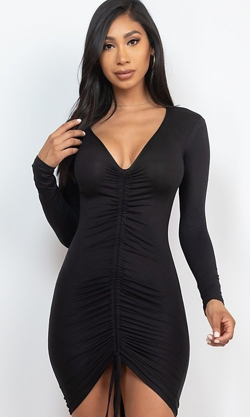 Image of sexy short bodycon party dress with drawstring. Style: LAS-CAP-21-BD3332-O Back Image