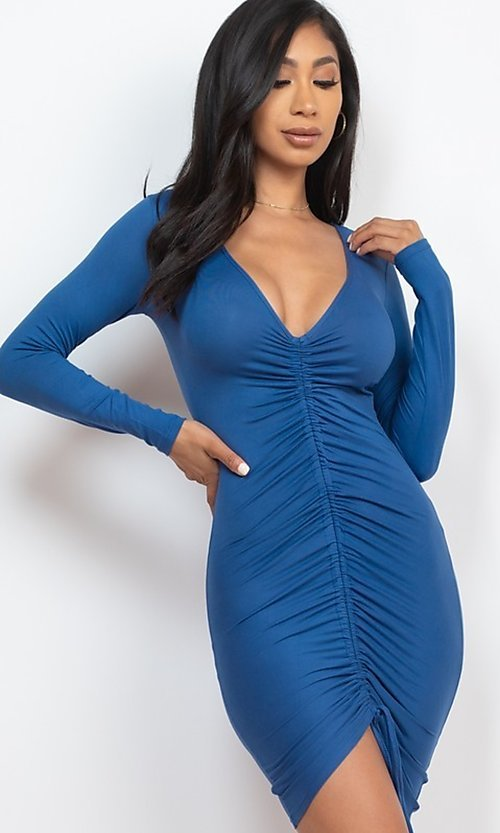 Image of sexy short bodycon party dress with drawstring. Style: LAS-CAP-21-BD3332-O Detail Image 1