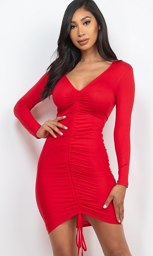 Image of sexy short bodycon party dress with drawstring. Style: LAS-CAP-21-BD3332-O Front Image