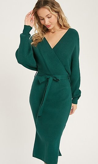 Cozy Sweater Dress with Long Sleeves