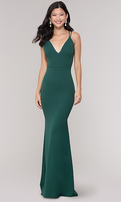 Image of simple open-back long formal dress in dark green. Style: LAS-SY-21-IDM6119APR Front Image