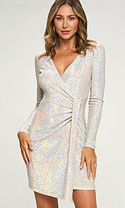 Image of short silver sequin party dress with long sleeves. Style: LAS-LOV-21-ND2439H Front Image