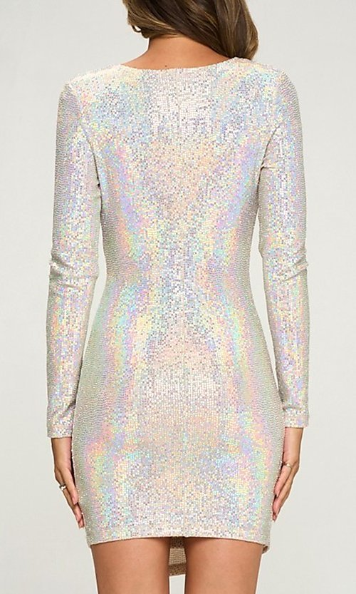 Image of short silver sequin party dress with long sleeves. Style: LAS-LOV-21-ND2439H Back Image