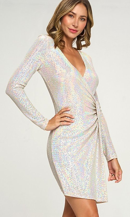 Image of short silver sequin party dress with long sleeves. Style: LAS-LOV-21-ND2439H Detail Image 1