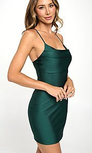 Image of dark green simple short formal holiday party dress. Style: LAS-LOV-21-QD4980 Front Image