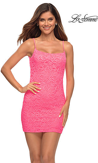 Neon Pink Stretch Lace Short Fitted Hoco Dress