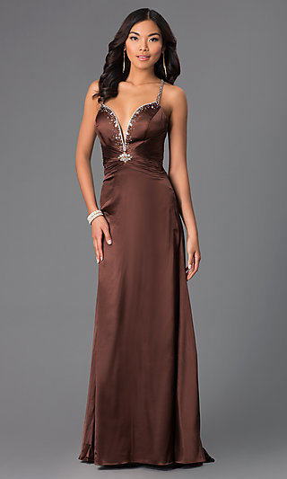 Plunging Low-V-Neck Chocolate Brown Long Dress