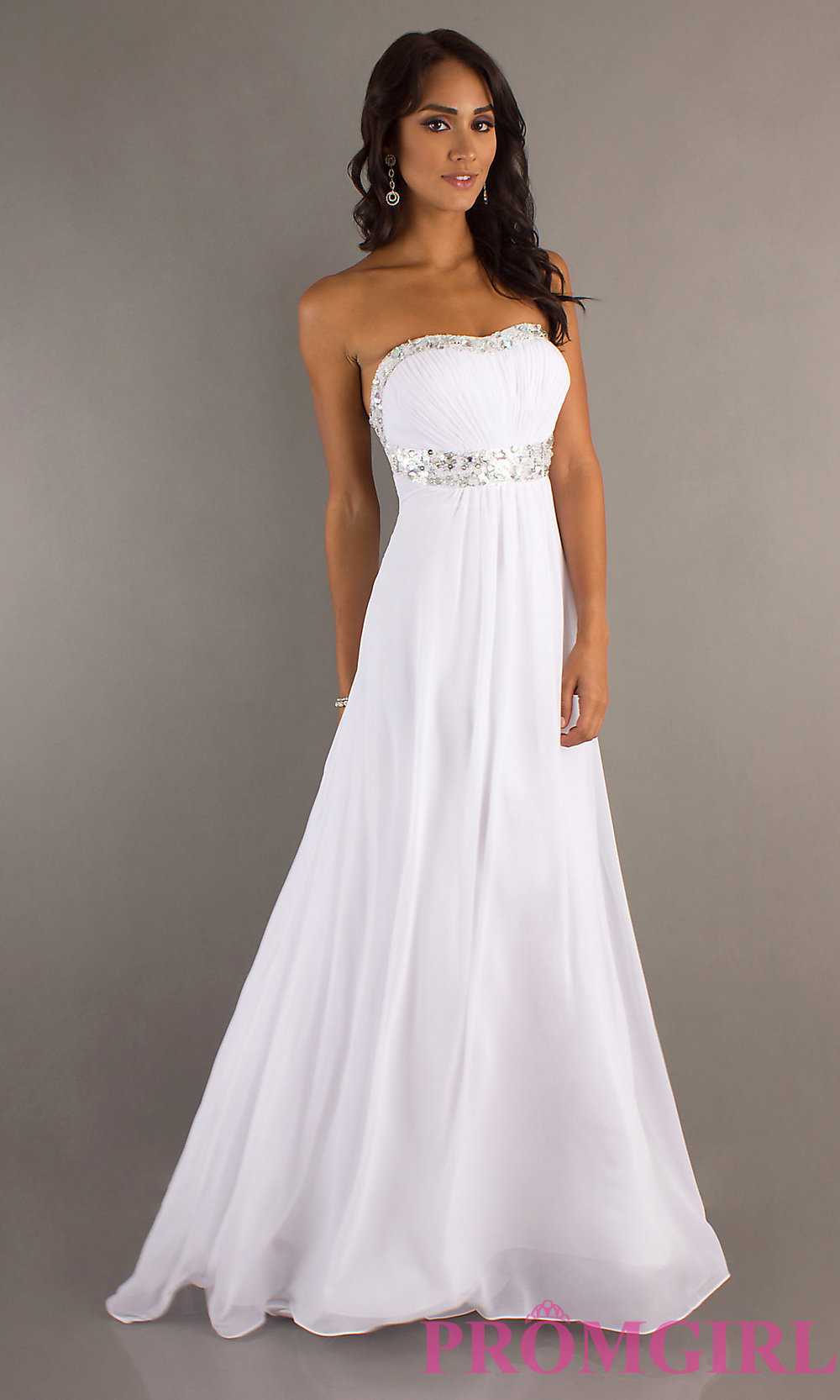 Elegant White Gowns La Femme Prom Dresses in White- PromGirl