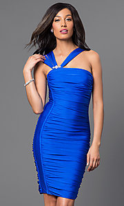 Image of short ruched cocktail dress by Atria. Style: AT-6036 Front Image