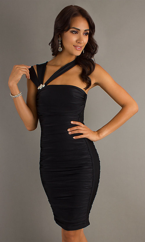 Image of short ruched cocktail dress by Atria. Style: AT-6036 Detail Image 2