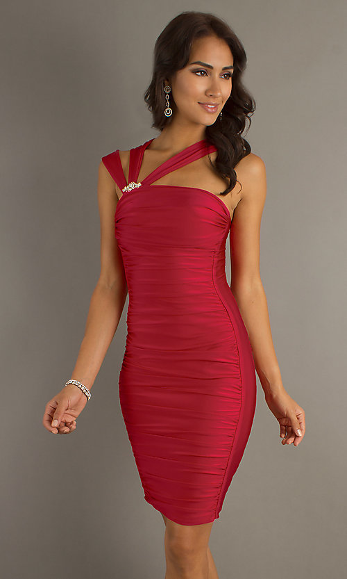 Image of short ruched cocktail dress by Atria. Style: AT-6036 Detail Image 3